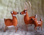 Whitetail Deer Family, Needle Felted, Wire Wrapped, Set of 3 Handmade, Christmas, Holiday Decoration