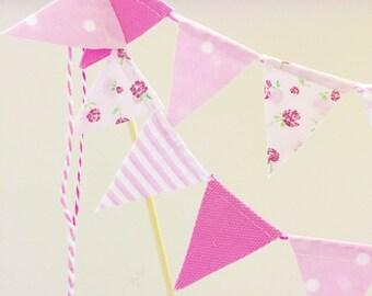 "Fabric Cake Bunting- ""Bubblegum"""