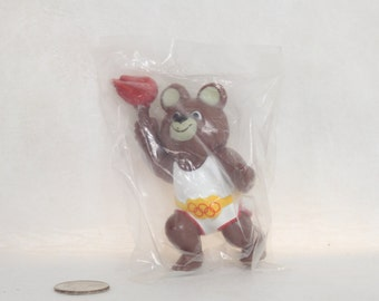 Misha Bear, 1980 Moscow Olympics Mascot, Hard Rubber Toy, Carrying Olympic Torch