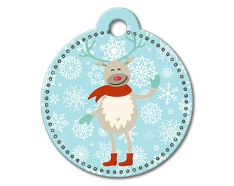 SALE Christmas Holiday Reindeer Pet Tag - Dog Tags for Dogs - Custom Dog Tag for Pets, Personalized Cute Dog ID Tag, Sizes Small & Large
