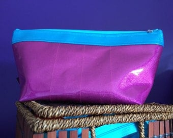 Sparkle Vinyl Makeup Bag (Magenta/Turquoise)