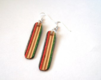 Wood Earrings made from Recycled Skateboard- Unique Earrings