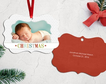 Personalized Photo Christmas Tree Ornament - Double Sided with Ribbon - PG-586