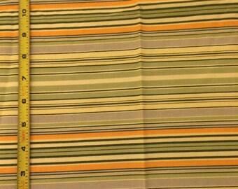 3 yds of Amy Butler Lotus fabric // stripe design // light & dark green, pale yellow, light orange, light grey
