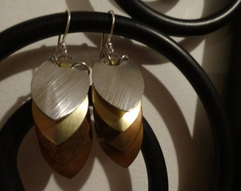 Dragon Scale Mail Earrings; Silver, Gold, Copper, Bronze; Aluminum Scales