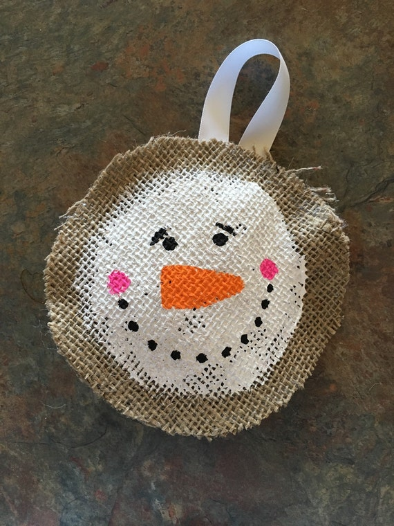 Snowman christmas ornament burlap christmas by for Snowman made out of burlap