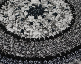 Black,white and gray handmade circle rug