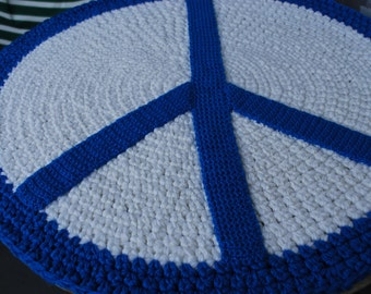 Peace sign rug handmade circle rug