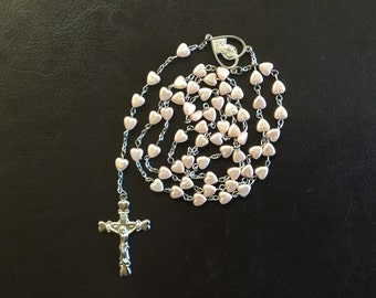 Vintage Pink Heart Rosary Beads, Jesus Scared Heart Rosary Beads