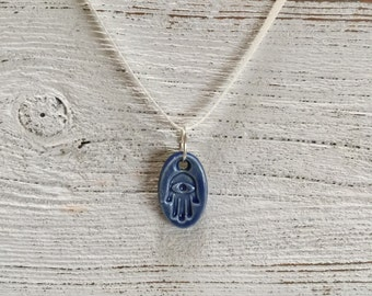 Royal Blue Ceramic Hamsa Pendant, Zen, Peace, Unique Gift, Hamsa, Protection, Gift for Her, Holiday, Ceramic Jewelry, Bohemian