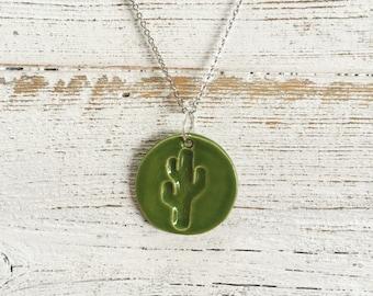 Ceramic Cactus Pendant, Green, Unique Gift, Desert, Gift for Her, Southwest, Ceramics, Cactus jewelry, Ceramic Jewelry