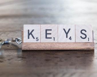 Scrabble Keychain CUSTOM 2-9 Letter
