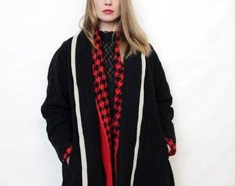 ON SALE Vintage Black Wrap Around Coat with White Trim