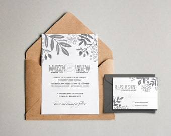 Wedding Invitation & RSVP Card // Printable // Hand Painted Invitation // White and Gray Floral // Neutral // Invite