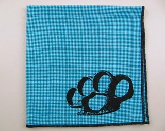 SALE -Brass knuckles shown on super soft discontinued Aqua checkers plaid cotton Hanky- last one
