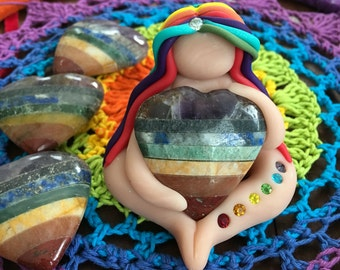 Love is Love Rainbow Goddess ((Made To Order, limited edition)) heart goddess, love goddess, goddess figurine,rainbow haired goddess,goddess