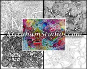 """Coloring Pages for All Ages by K Graham """"Abstracts & Geometrics"""" Mandalas, Geometric Shapes, Zen Doodles 4 Coloring Page Coloring """"Book"""""""