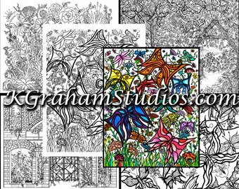 "Coloring Pages for All Ages by K. Graham ""Butterflies and Gardens""  5 Adult or Teen coloring ""book"" pages Flowers & Butterfly Garden"