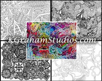 "Abstracts & Geometrics - Mandalas Adult or Teen Coloring Pages by K Graham 4 Geometric Shapes Zen Doodles Coloring Page Coloring ""Book"""