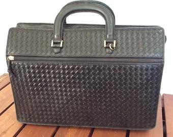 Authentic Vintage Cosci Black Woven Leather Brief Briefcase Portfolio Made in Italy