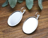 10pcs 18x25mm High Quality Silver Plated Brass Cameo Base French Earwire Hook K204-4
