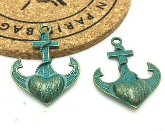 5pcs Antique Blue Bronze Rustic Patina Anchor Charm Pendants 29x34mm H405-3