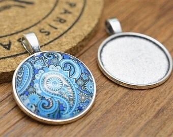 Cabochon Base Setting -10pcs Antique Silver Round Bezel Tray Charm Pendants 30mm A207-6