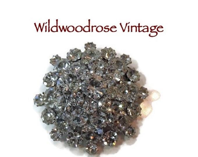 Vintage 1950's Large Austrian Crystal Snowflake Tiered Rhinestone Brooch - Vintage Wedding Brooch Bouquet - Vintage Hair Bling