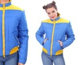 Puffer Coat Retro Ski Jacket 70s Puffy Crop Blue Yellow CONTRASTING Zipper Hipster Indie 1970s Vintage Puff Jacket Winter Skiing size S to M
