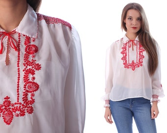 SHEER Mexican Blouse 60s White Red Transparent Chiffon Tunic Boho HAND EMBROIDERED Festival Bohemian Floral Vintage Ethnic Shirt Retro Large