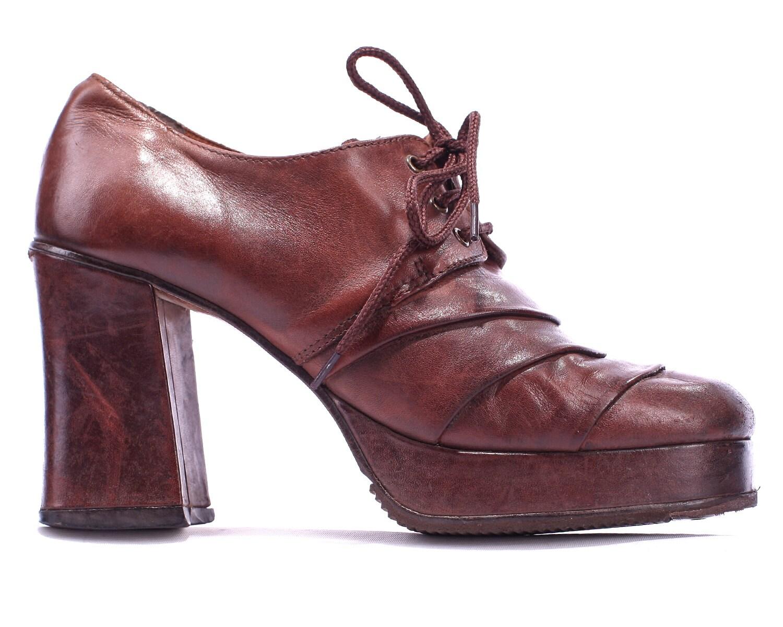 vintage platform shoes 70s distressed rust brown by