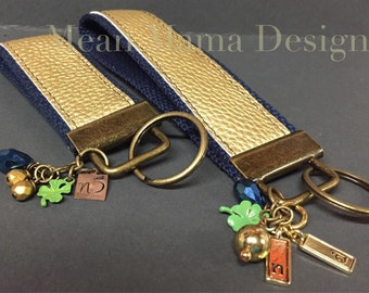 Notre Dame Inspired  Key Chain ,  Key Fob Blue and Gold  ... 2 peice Key fob Set