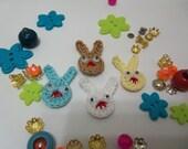 Handmade Crochet Bunny Appliques. Handmade Appliques.