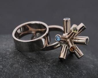 18K White Gold Wedding Set - Designer Engagement Ring - Sapphire Cluster Ring - Statement Engagement Ring - Made to Order - FREE SHIPPING