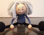 Crochet Plush Albert Einstein Doll, Christmas Gift, boys girls, science, MADE TO ORDER