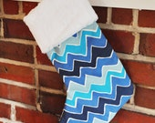 READY TO SHIP Arctic Blue Personalized Christmas Stocking Wholesale Chevron See Saw Menagerie Carnival no.213