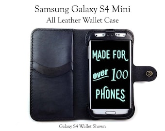 Galaxy S4 Mini Leather Wallet Case - No Plastic - Free Inscription
