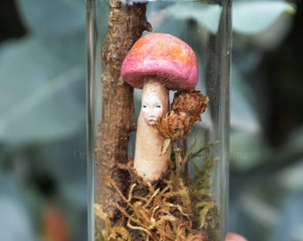 Mushroom Fairy Resting in enchanted bottle - Woodland Spirit - Nigrica Miniatures sculpt hand made by Johana Molina