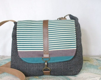 New Mexico-- Crossbody messenger bag //  Adjustable strap // Vegan purse // Stripes // Teal // Travel purse //  Ready to ship