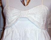 SALE,Vintage, Boho Dress, White Dress, Lace Dress, Tiered Dress, Sundress, Ruffle Sundress,