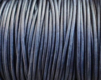 3mm Leather Cord - Pacific Blue Distressed Leather Cord Round Natural Dye - Dark Blue - Navy - 2 Yard Increments