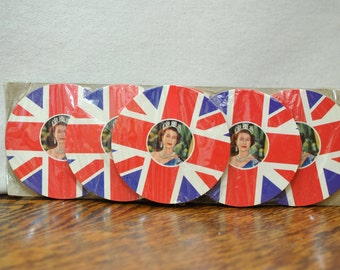 Vintage Queen Elizabeth Coasters - Mastamats - British Royalty - Celebrate Britain - Before Brexit - Union Jack - Queen Kitsch