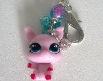Littlest Pet Shop Pink Pig with Blue Beads Keychain Bag Purse Charm LPS Kawaii Cute Girl Teen Ooak Gift Toy Animal