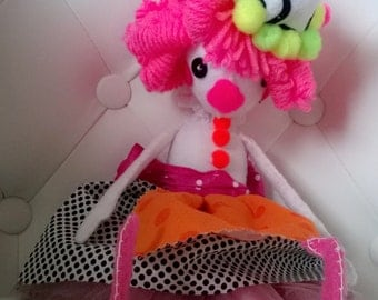Plush Clown Doll with Pink Hair Green Black Pink Art Rag Cloth Doll Ooak Stuffed Cute Gift