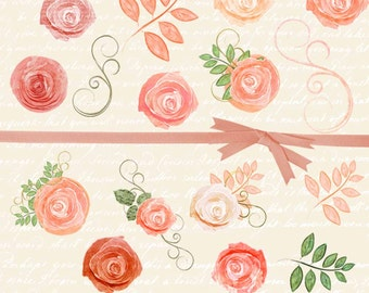 Watercolor Roses Clipart, Floral Clip Art, Planner Clipart, Rose Clip Art, Wedding Clipart, Blush Pink Flowers Clipart, #15145