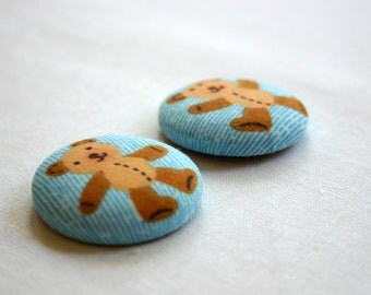 Fridge Magnets - Set of 2, Cute Teddy - 38mm (1.5 inch) Fabric Button Magnet - Great Gift Idea