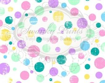 SWANKY PRINTS ORIGINAL 8ft x 8ft Easter Pastel Polka Dots / Vinyl Photography Backdrop / Spring