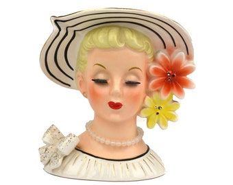 Vintage Relpo K860 Lady Head Vase // Mid-Century Collectible Pottery Figurine Floral Planter Made in Japan