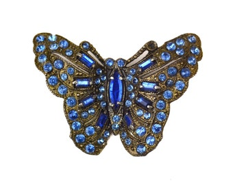 Vintage Butterfly Brooch // 1920's Blue Paste Rhinestone Insect Pin Jewelry