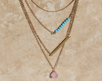 Layered Necklace Set, Gold Fill, Layering Necklaces, Turquoise, Pink Sea glass, Layer Necklaces, Minimalist Jewelry Petite